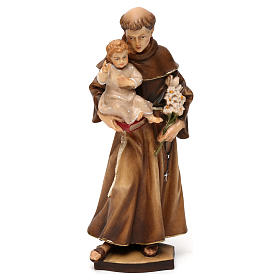 Hand painted wooden statues: St Anthony of Padua statue in Valgardena wood