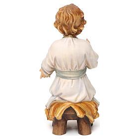 Gesù bambino seduto su culla legno Valgardena s5