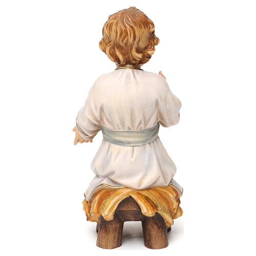 Gesù bambino seduto su culla legno Valgardena 5
