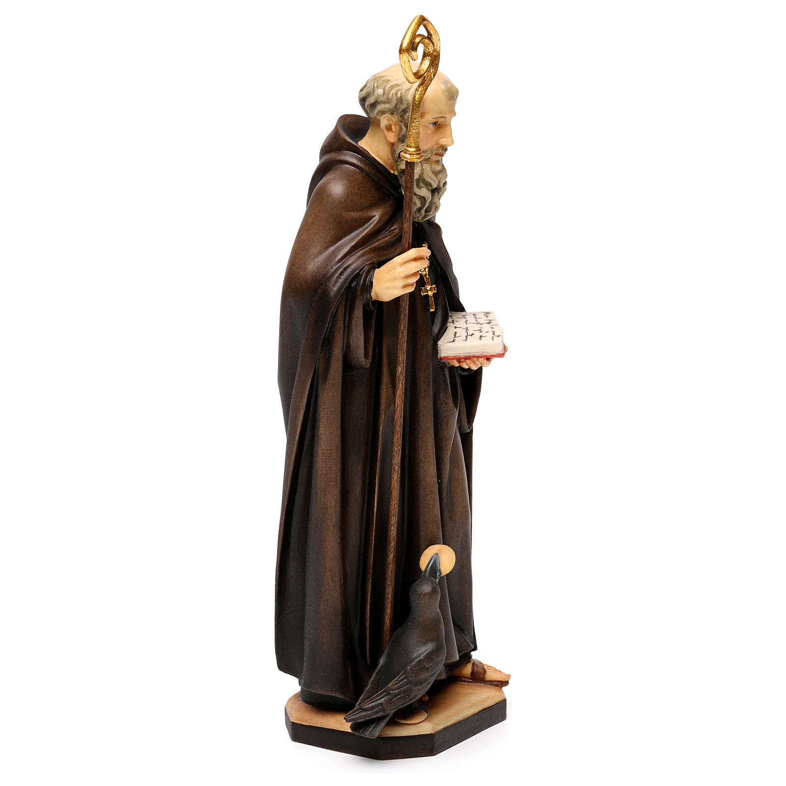 St. Benedict of Norcia with crow and bread statue in wood, Val Gardena 4