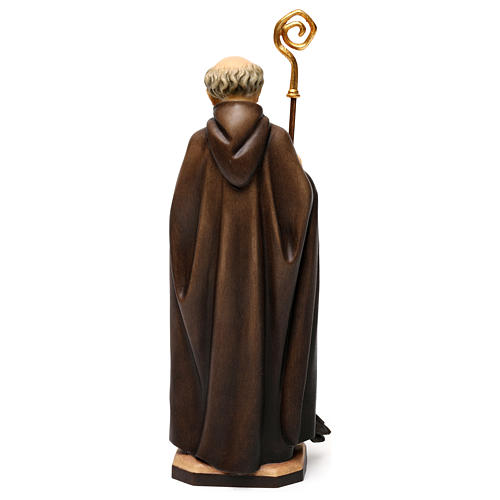 St. Benedict of Norcia with crow and bread statue in wood, Val Gardena 5