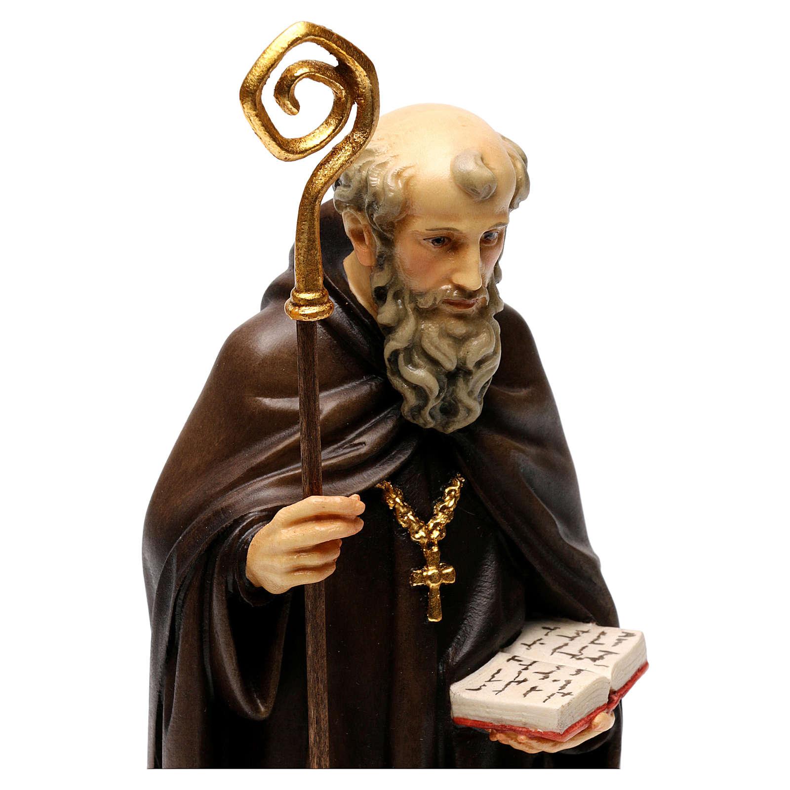 San Benedetto da Norcia con corvo e pane legno Valgardena 4