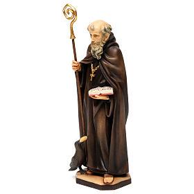 San Benedetto da Norcia con corvo e pane legno Valgardena s3