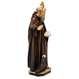 San Benedetto da Norcia con corvo e pane legno Valgardena s4