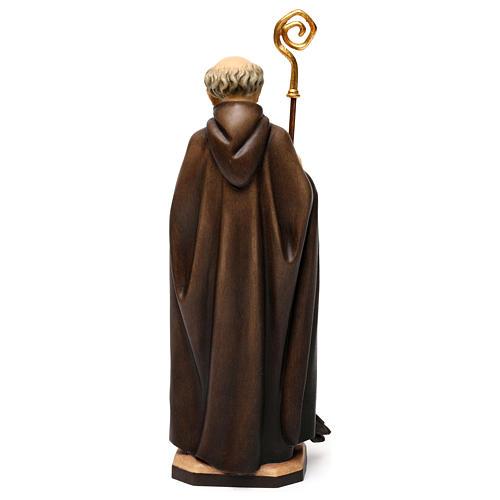Święty Benedykt z Nursji z krukiem z chlebem drewno Valgardena 5