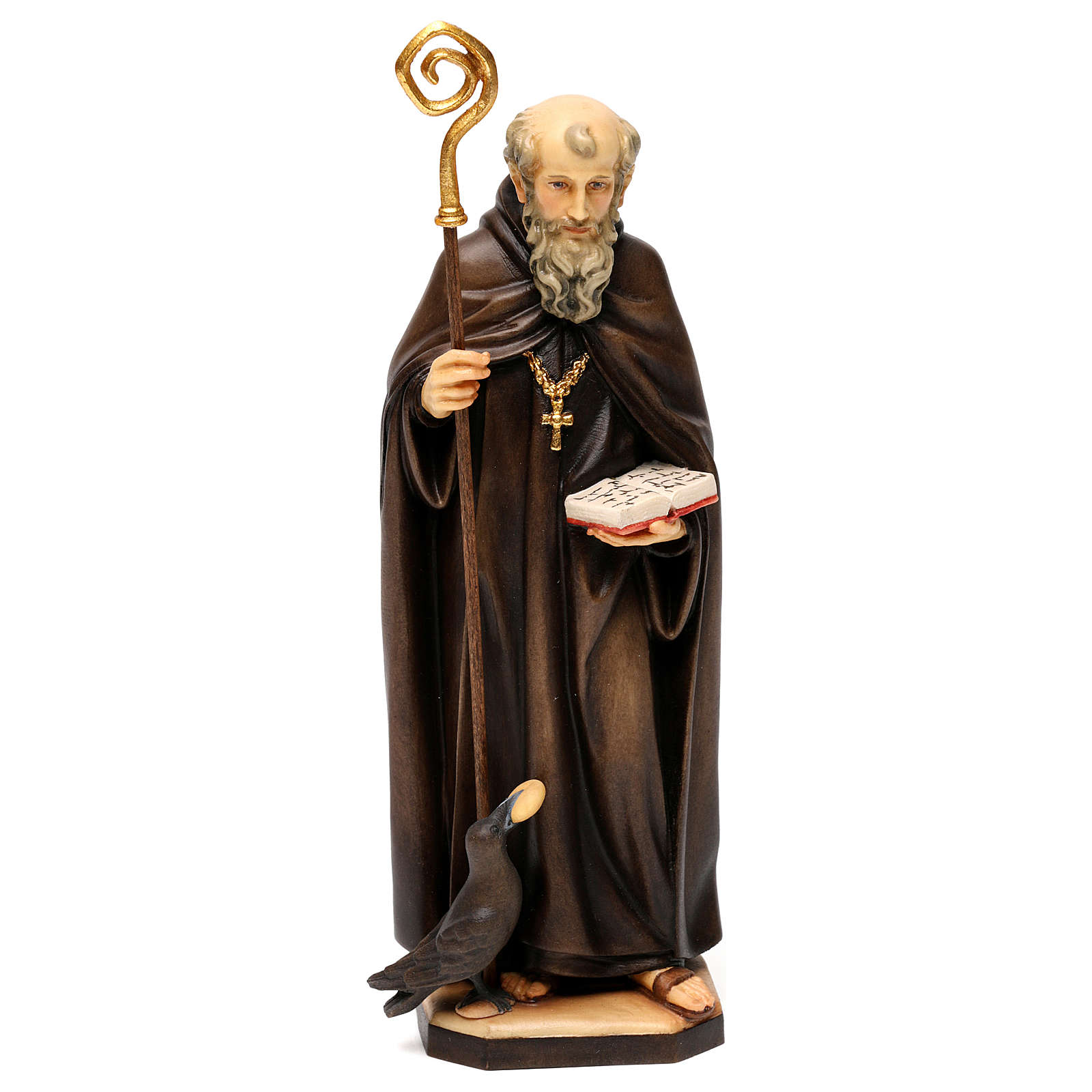St. Benedict of Norcia statue with crow and bread, in Valgardena wood 4