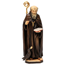 Hand painted wooden statues: St. Benedict of Norcia statue with crow and bread, in Valgardena wood