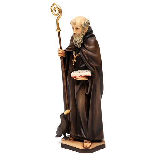 St. Benedict of Norcia statue with crow and bread, in Valgardena wood 3