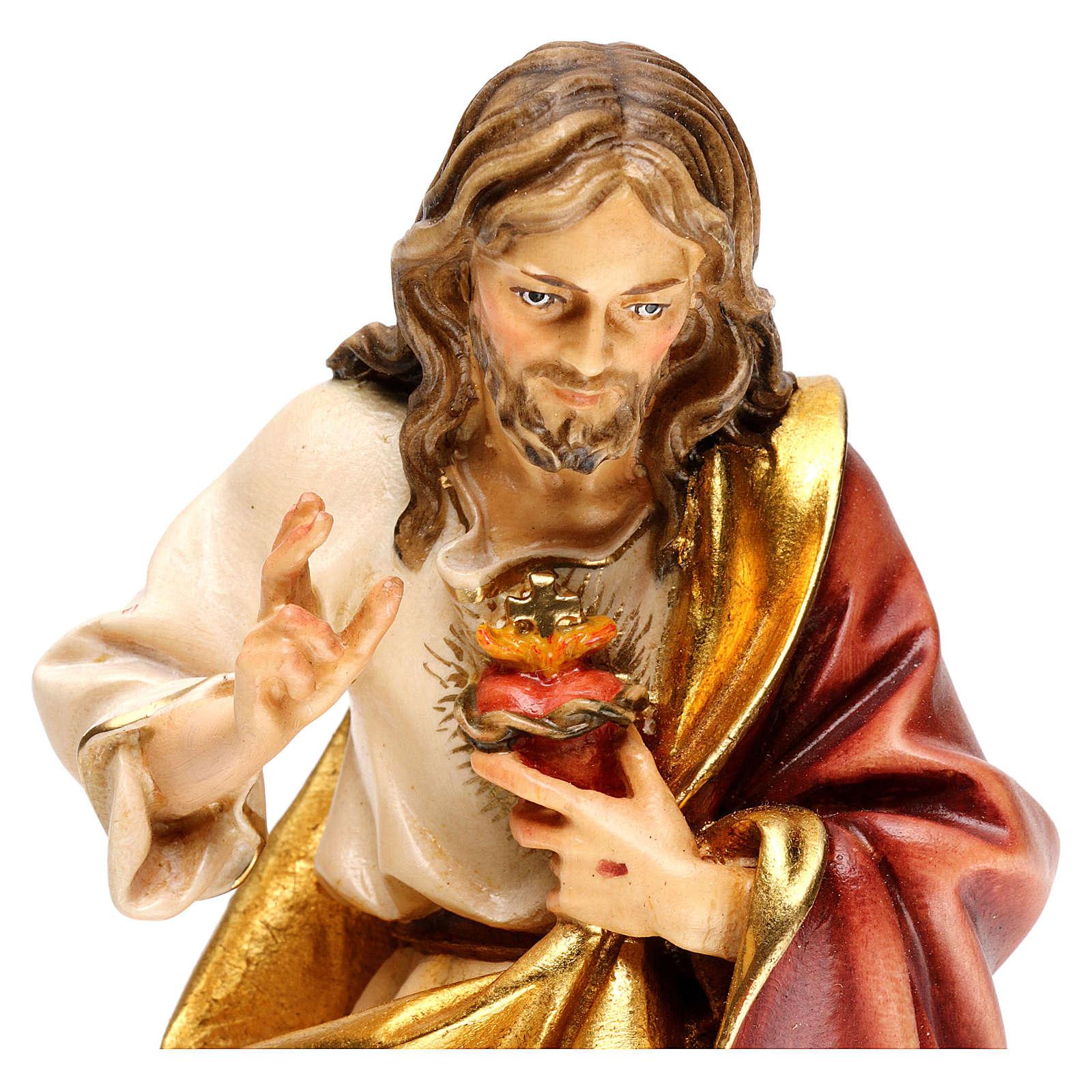 Sacred Heart of Jesus statue in wood, Val Gardena 4