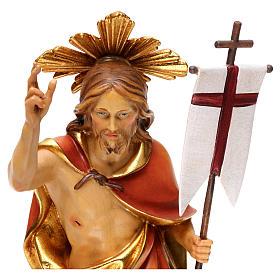 Resurrection Christ with rays in Valgardena wood s2