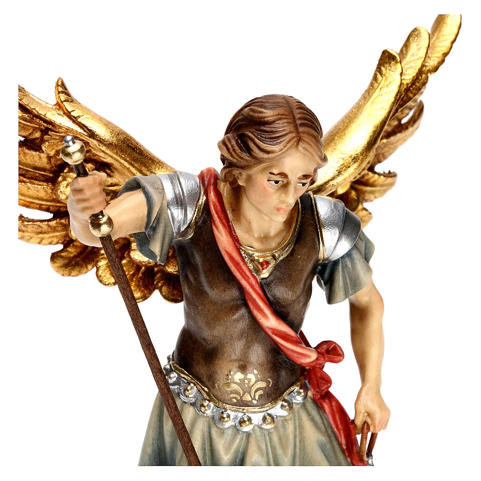 St. Michael with scale statue in wood, Val Gardena 4