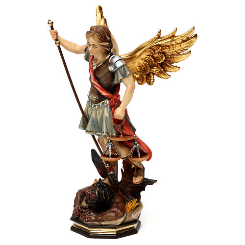 St. Michael with scale statue in wood, Val Gardena 3
