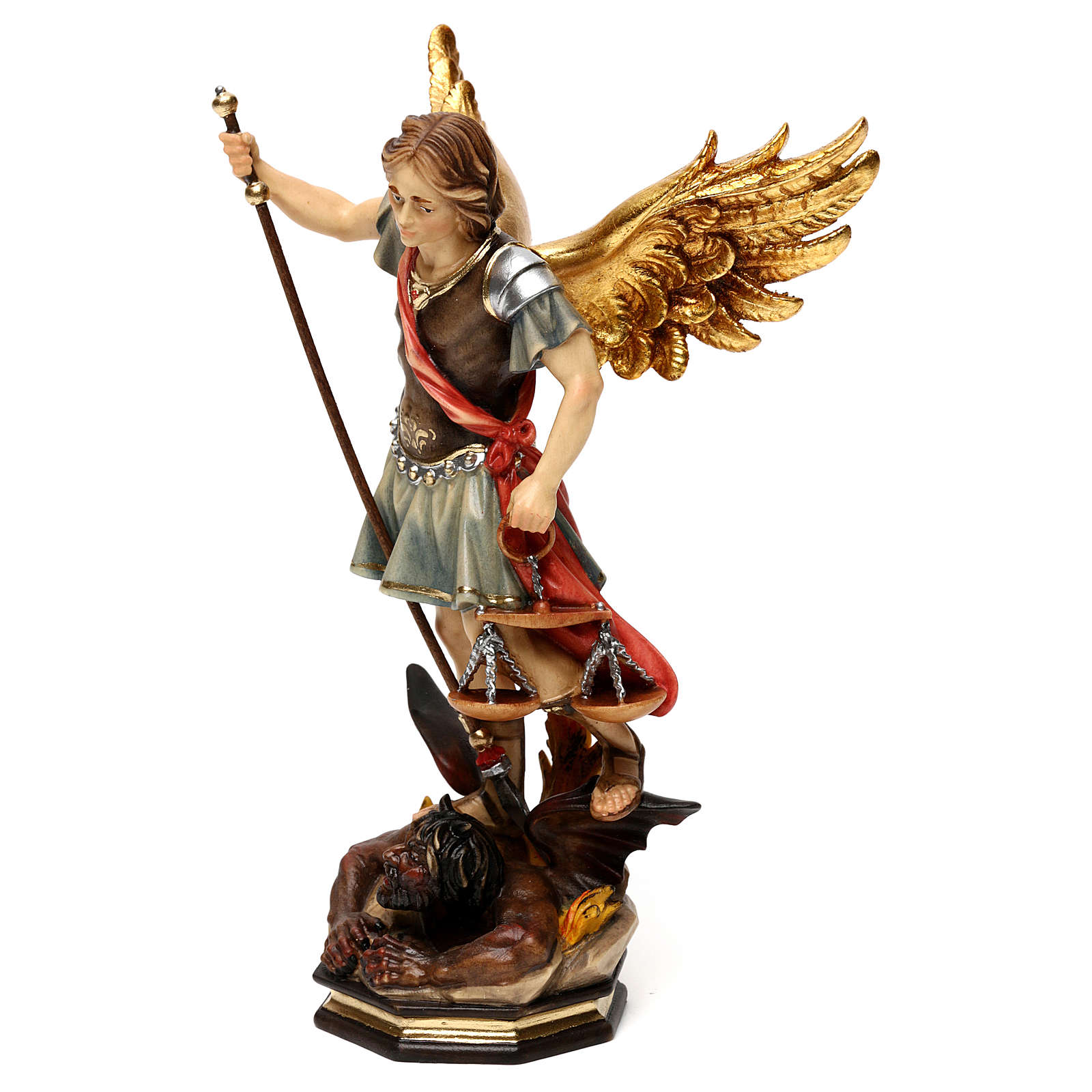 San Miguel Arcángel con balanza madera Val Gardena 4