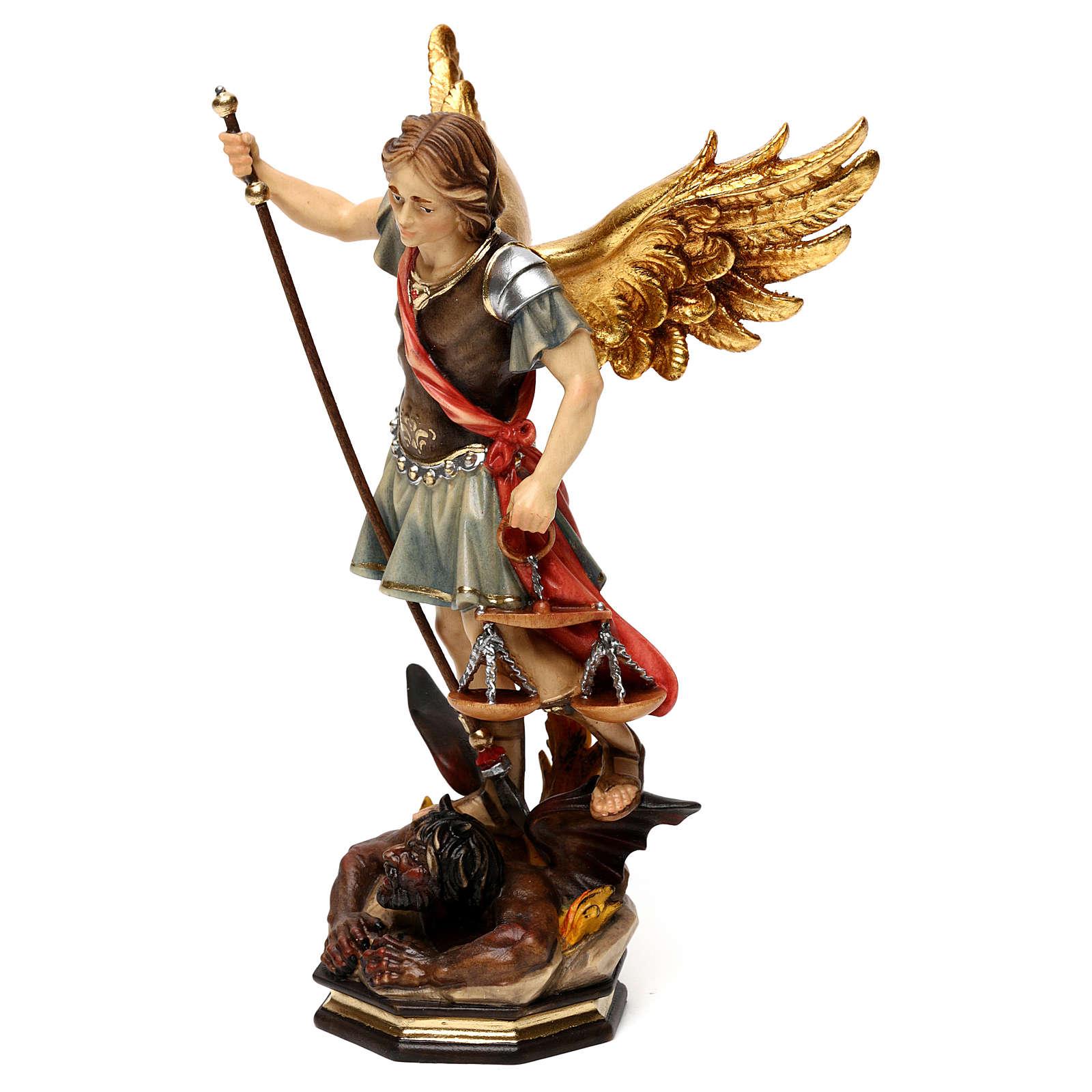 Święty Michał Archanioł z wagą drewno Valgardena 4