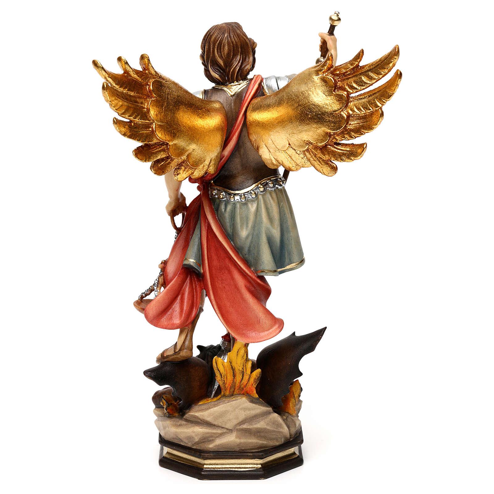 São Miguel Arcanjo com balança madeira Val Gardena 4