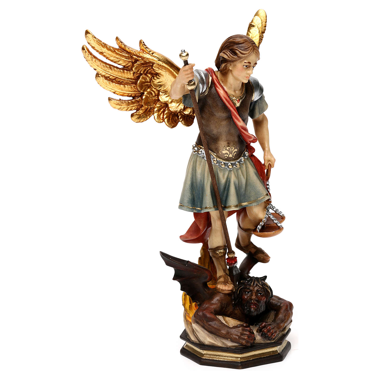 Saint Michael The Archangel statue with scales in Valgardena wood 4