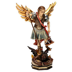 Hand painted wooden statues: Saint Michael The Archangel statue with scales in Valgardena wood