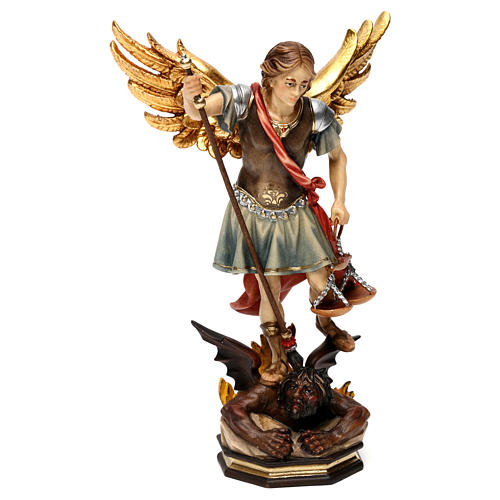 Saint Michael The Archangel statue with scales in Valgardena wood 1