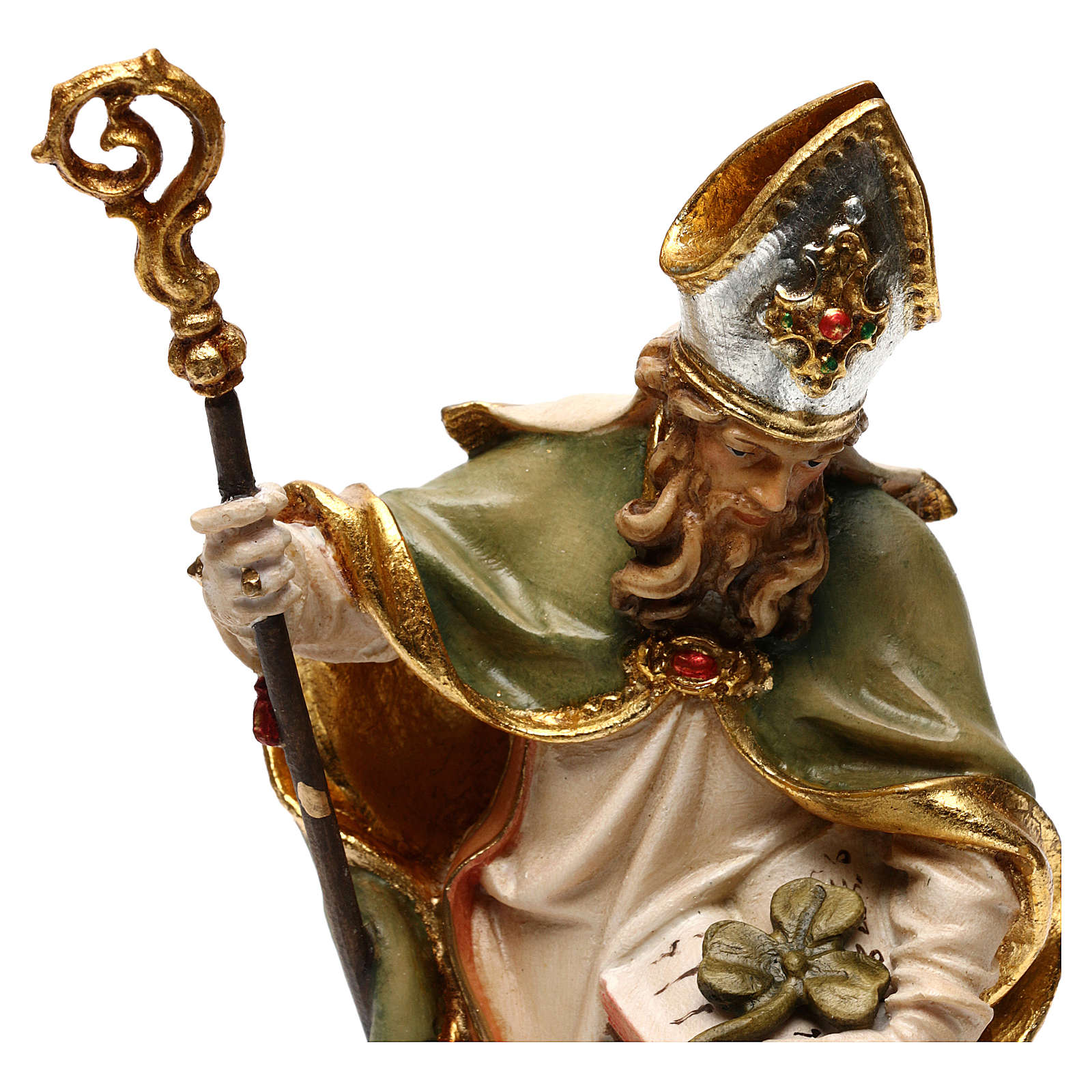 San Patricio de Irlanda con trébol madera Val Gardena 4