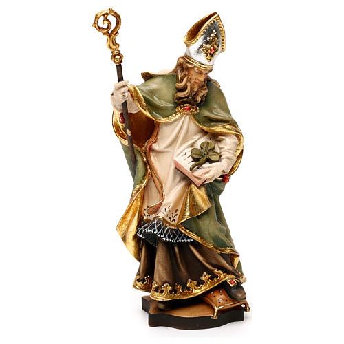 San Patricio de Irlanda con trébol madera Val Gardena 1