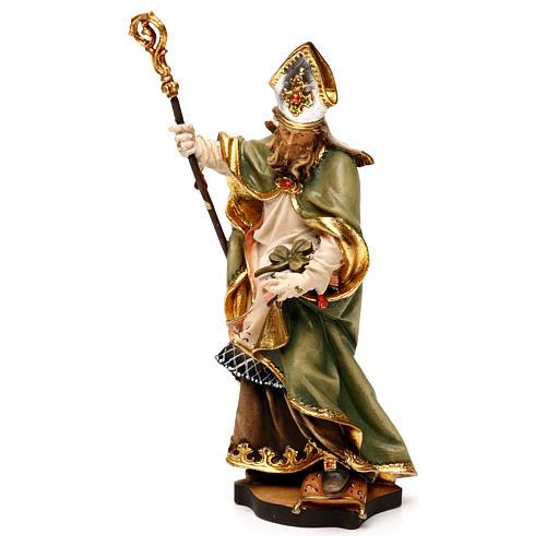 San Patrizio d'Irlanda con trifoglio legno Valgardena 3