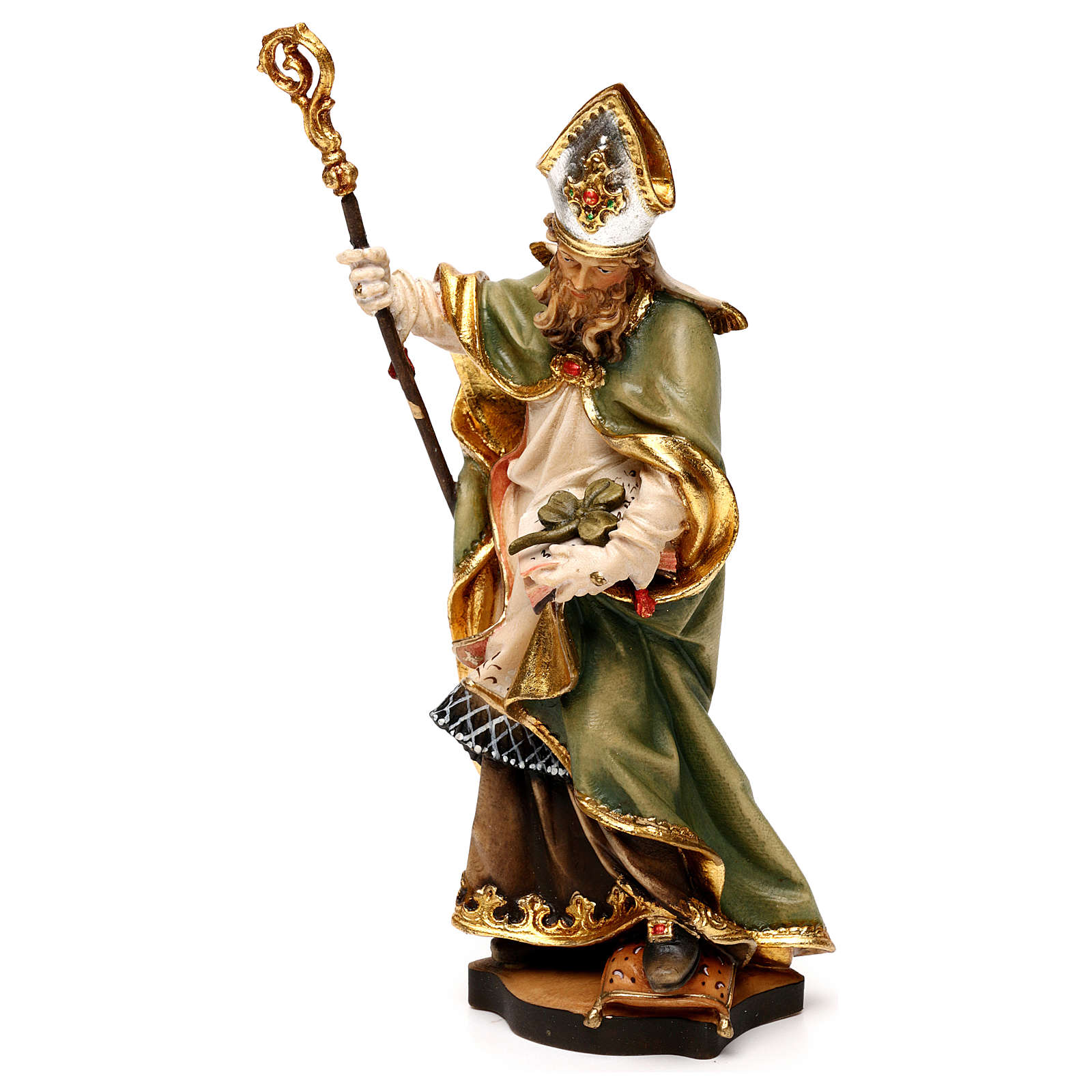 St Patrick of Ireland statue with three leaf clover, Valgardena wood 4
