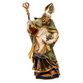 Hand painted wooden statues: St Patrick of Ireland statue with three leaf clover, Valgardena wood