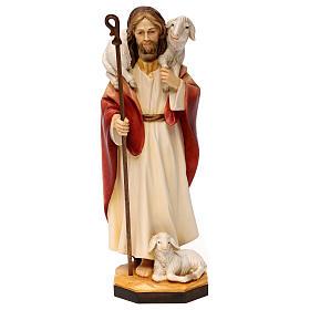 Gesù il buon pastore legno Valgardena s1