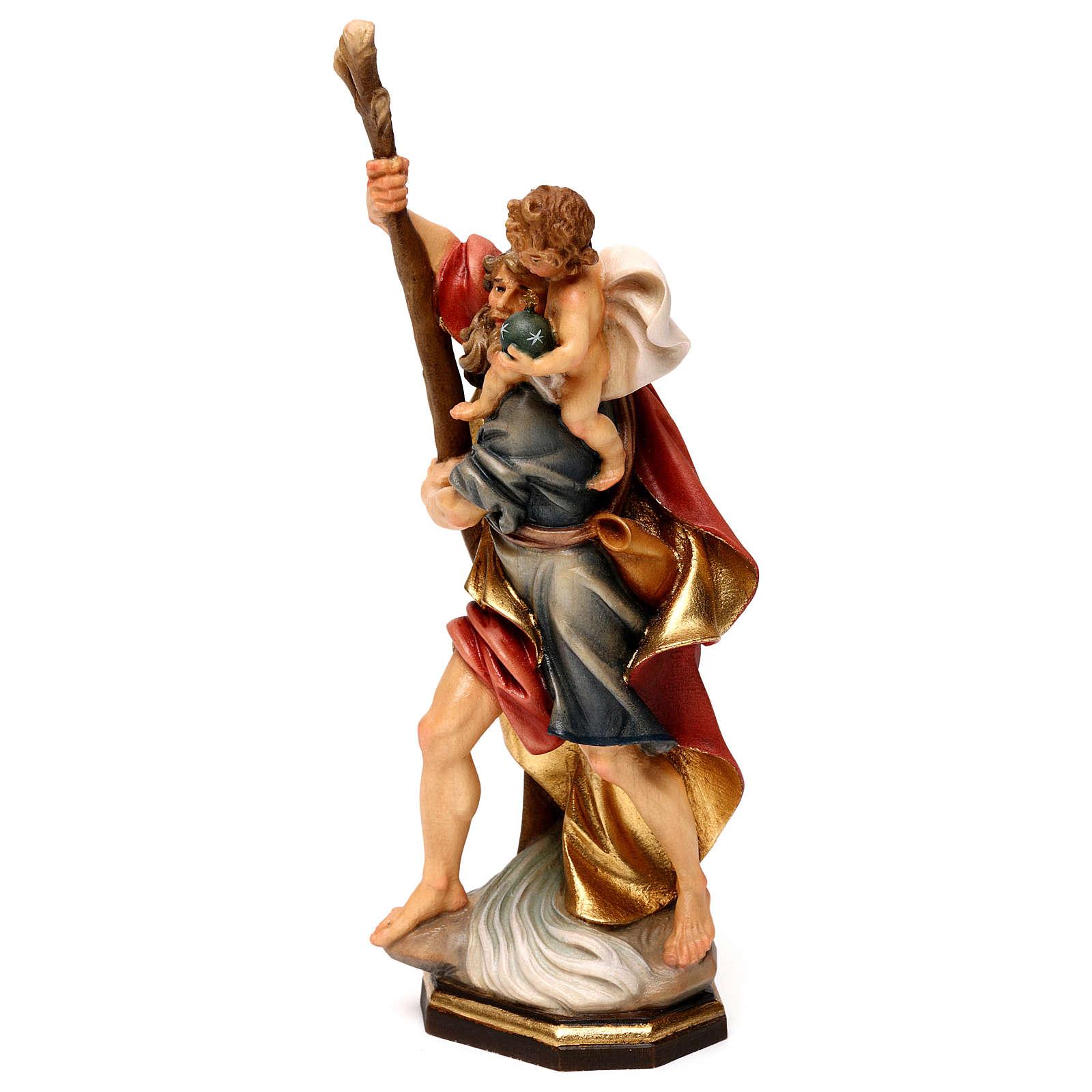 San Cristoforo con bambino legno Valgardena 4