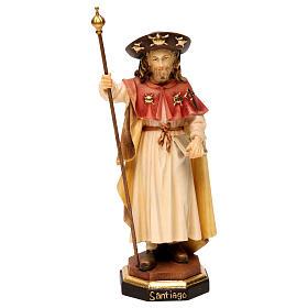 Statues en bois peint: Saint Jacques le pèlerin bois Val Gardena