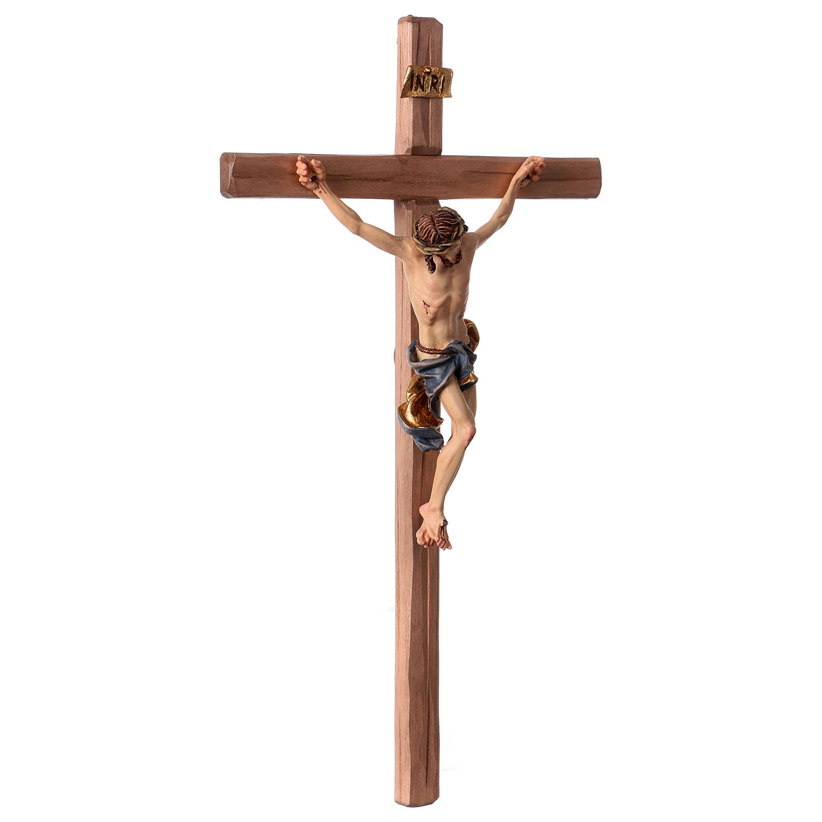 Baroque Crucifix in wood, straight cross and blue garment, Val Gardena 4