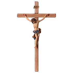Wooden crucifixes: Baroque Crucifix in wood, straight cross and blue garment, Val Gardena