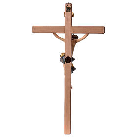 Baroque Crucifix in wood, straight cross and blue garment, Val Gardena s5