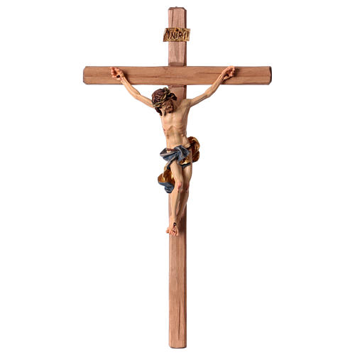 Baroque Crucifix in wood, straight cross and blue garment, Val Gardena 1