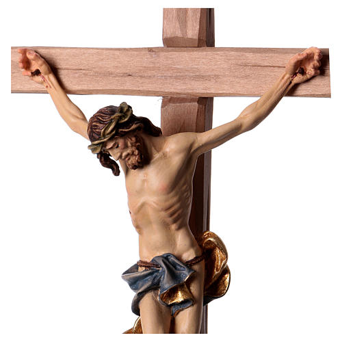 Baroque Crucifix in wood, straight cross and blue garment, Val Gardena 2