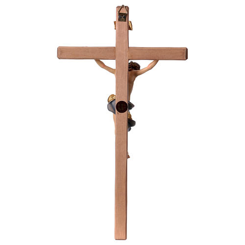 Baroque Crucifix in wood, straight cross and blue garment, Val Gardena 5