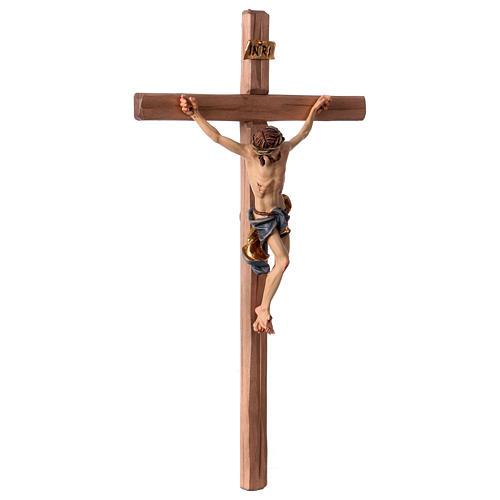 Crucifijo Barroco cruz recta azul madera Val Gardena 3