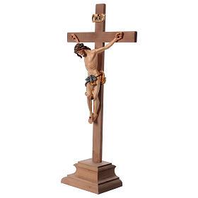 Kruzifix mit Basis blaue Kleidung Barock Stil Grödnertal Holz s3