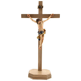 Baroque crucifix with blue pedestal in wood from Valgardena s1