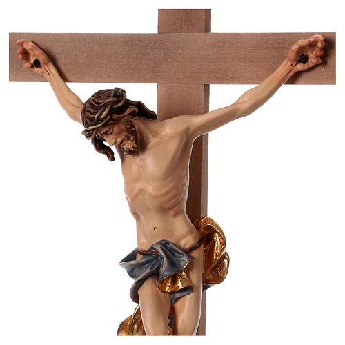 Baroque crucifix with blue pedestal in wood from Valgardena 2