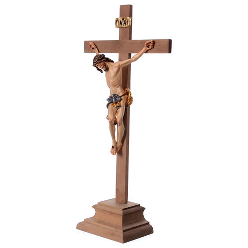 Baroque crucifix with blue pedestal in wood from Valgardena 3