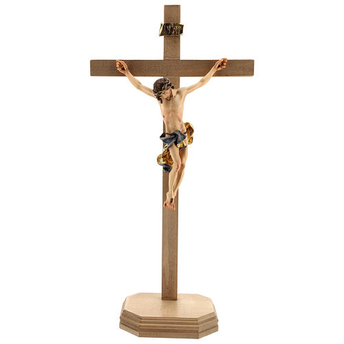Baroque crucifix with blue pedestal in wood from Valgardena 1