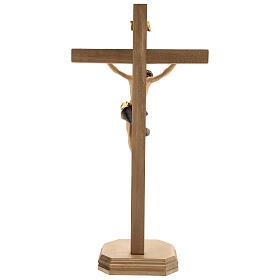 Crucifijo Barroco cruz pedestal azul madera Val Gardena s5