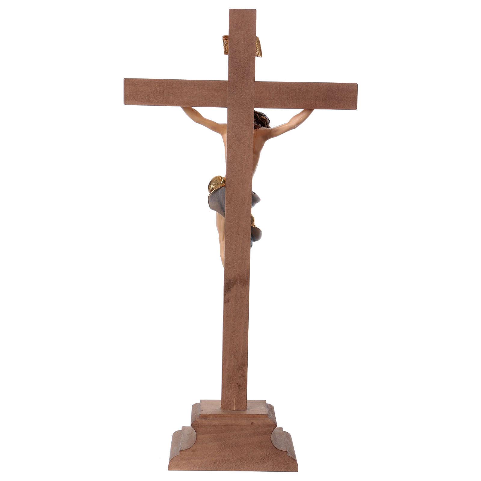Crucifix baroque croix piédestal bleu bois Val Gardena 4