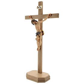 Crocifisso Barocco croce piedistallo blu legno Valgardena s2