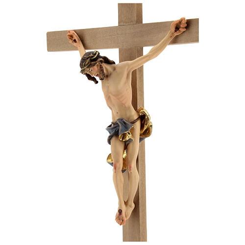Crocifisso Barocco croce piedistallo blu legno Valgardena 3