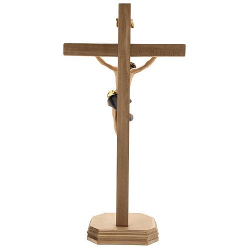 Crocifisso Barocco croce piedistallo blu legno Valgardena 5