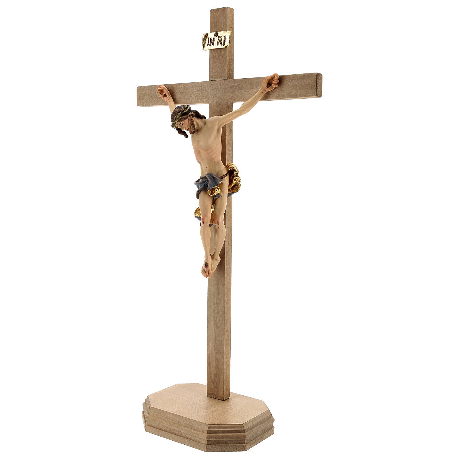 Krucyfiks Barokowy krzyż piedestał niebieski drewno Valgardena 4