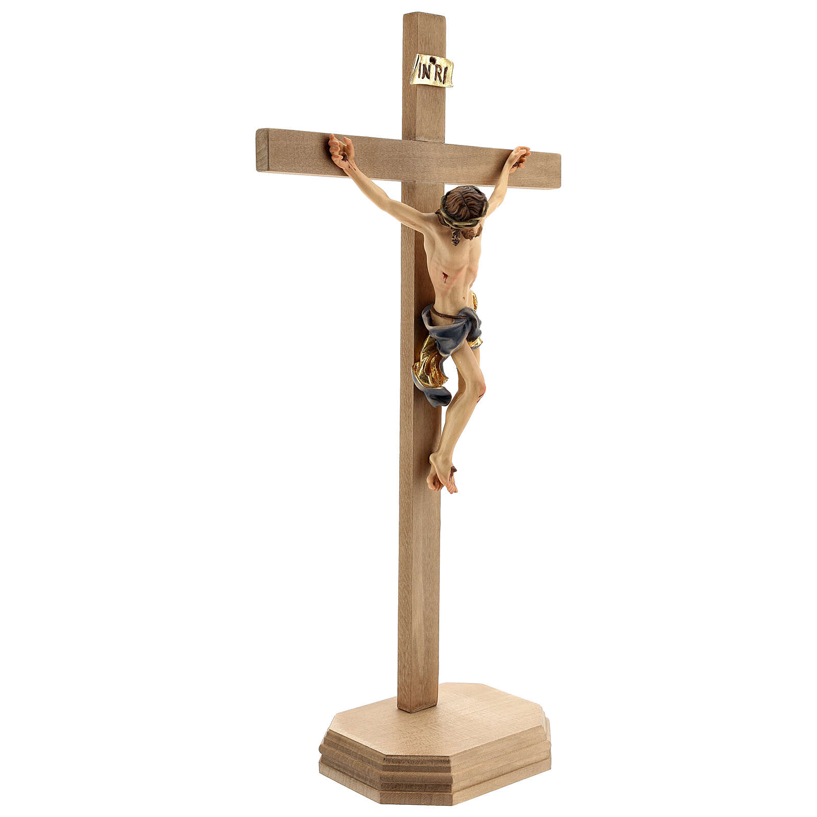 Baroque crucifix cross with base support in Valgardena wood 4
