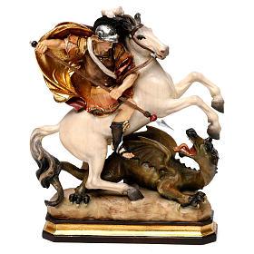 Statues en bois peint: Saint Georges à cheval avec dragon bois Val Gardena